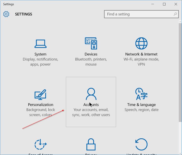 cerrar sesión en una cuenta de Microsoft en Windows 10 step2