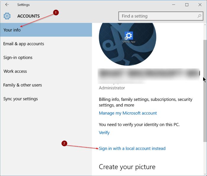 cerrar sesión en una cuenta de Microsoft en Windows 10 step3