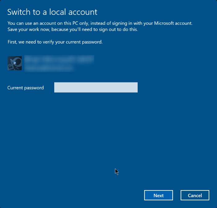 cerrar sesión en una cuenta de Microsoft en Windows 10 step4