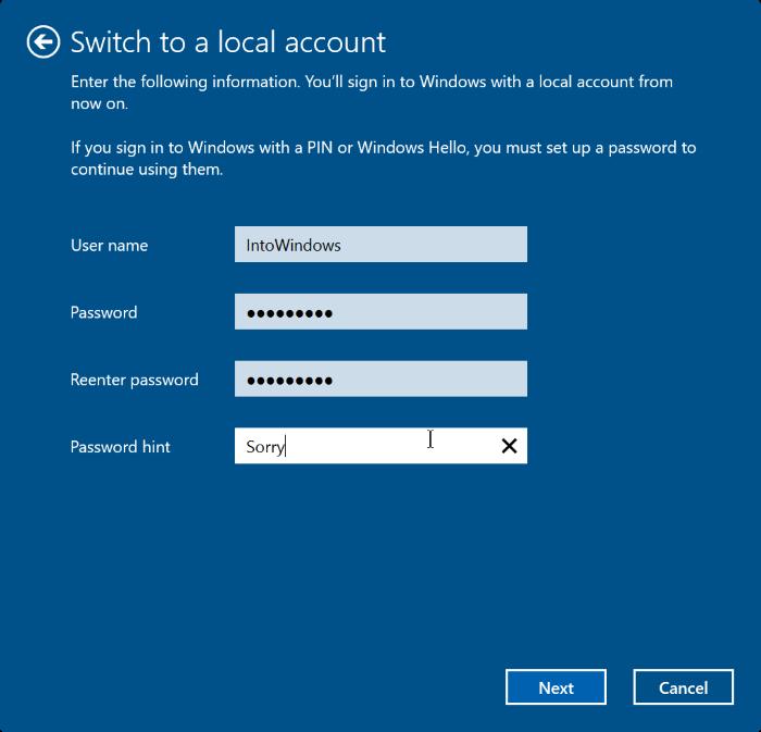cerrar sesión en una cuenta de Microsoft en Windows 10 step5