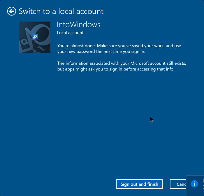 cerrar sesión en una cuenta de Microsoft en Windows 10 step6