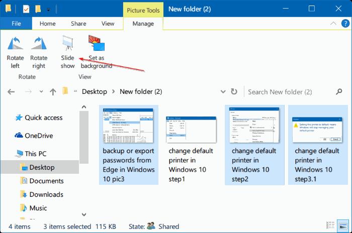 iniciar presentación de diapositivas directamente desde el Explorador de archivos en Windows 10 pic02