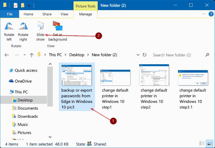 iniciar presentación de diapositivas directamente desde el Explorador de archivos en Windows 10