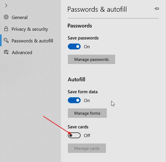 impedir que Edge guarde la información de la tarjeta de crédito en Windows 10 pic4