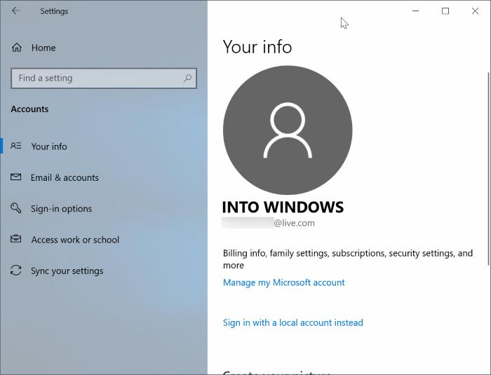 cambiar entre cuentas locales y de Microsoft en Windows 10 pic13