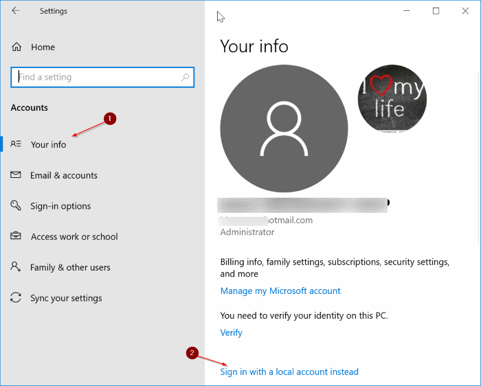 cambiar entre cuentas locales y de Microsoft en Windows 10 pic1