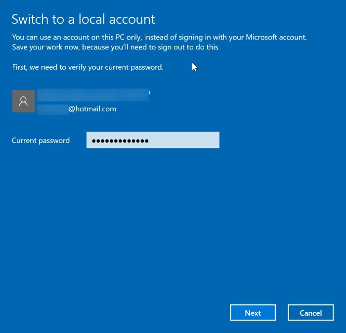 cambiar entre cuentas locales y de Microsoft en Windows 10 pic2