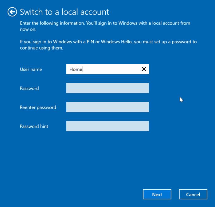 cambiar entre cuentas locales y de Microsoft en Windows 10 pic3