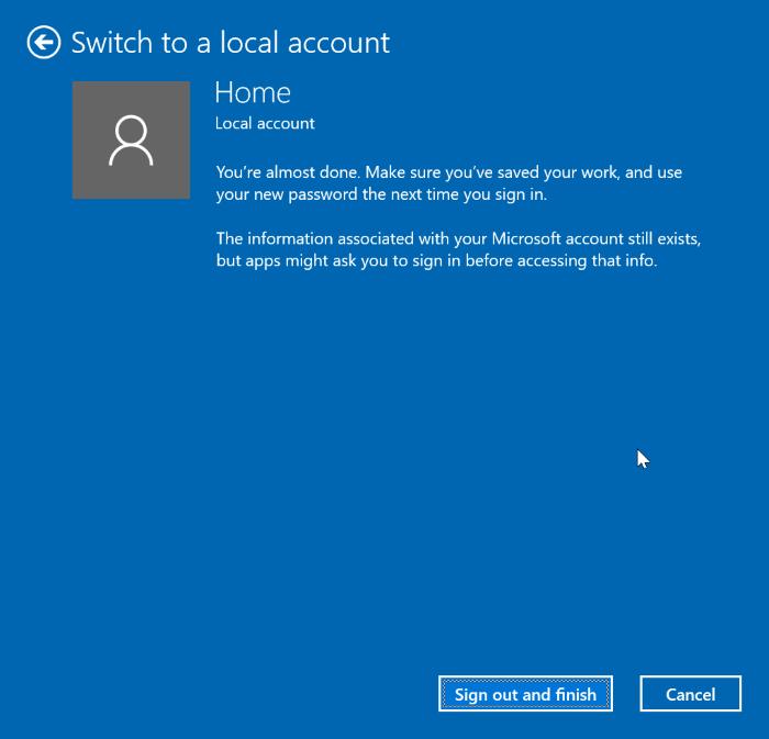 cambiar entre cuentas locales y de Microsoft en Windows 10 pic4