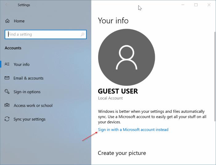 cambiar entre cuentas locales y de Microsoft en Windows 10 pic5
