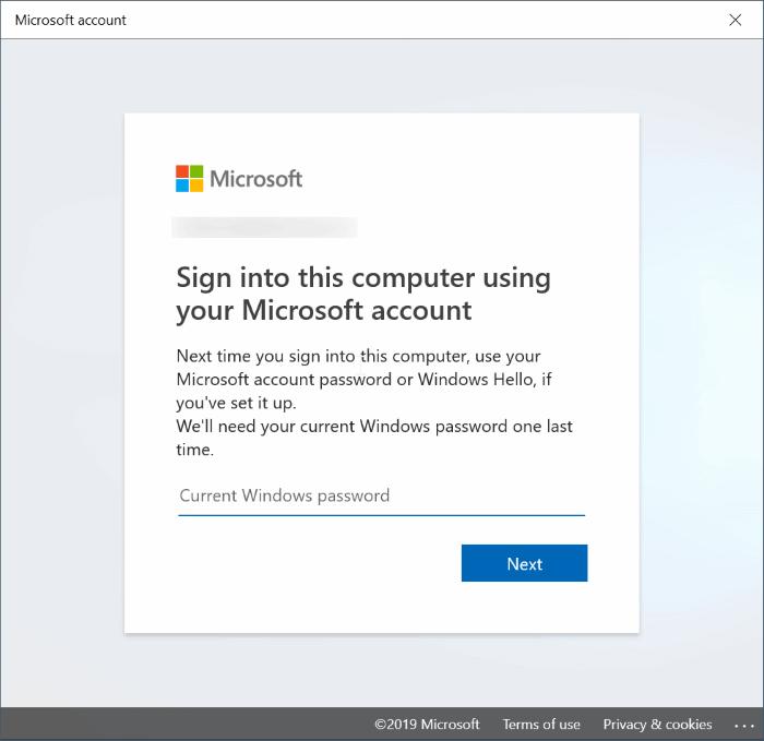 cambiar entre cuentas locales y de Microsoft en Windows 10 pic8
