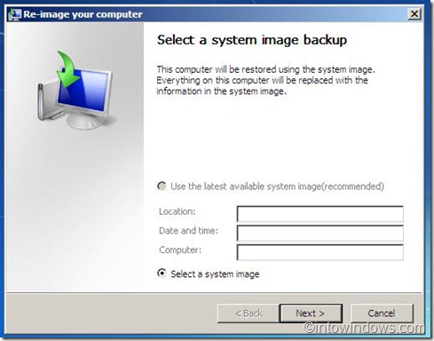 opción de copia de seguridad de la imagen del sistema