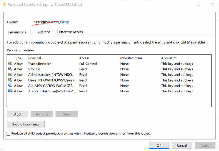 tomar propiedad del Registro en Windows 10 pic4
