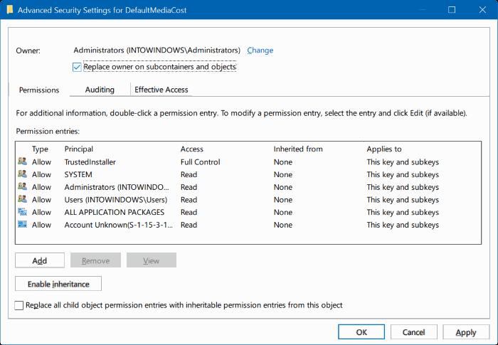 tomar propiedad del Registro en Windows 10 pic7