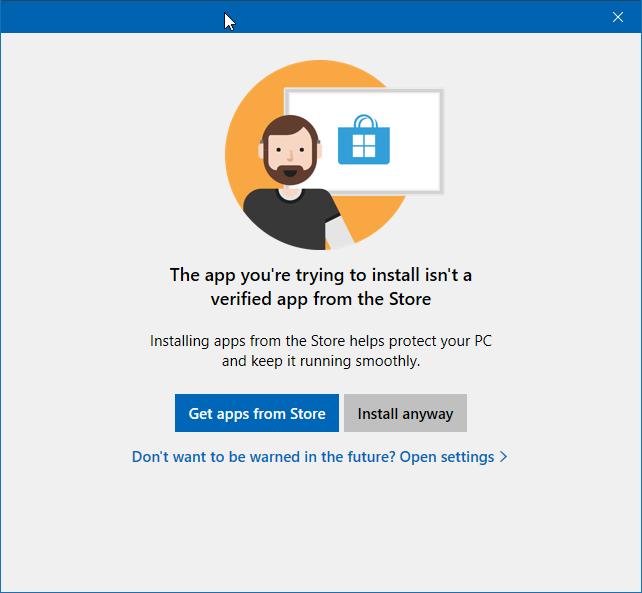 la aplicación que está intentando instalar no es una aplicación verificada de la tienda