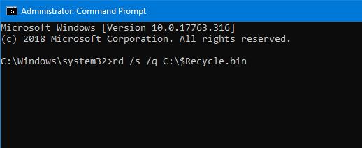 la papelera de reciclaje está dañada en Windows 10 pic1