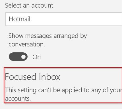 esta configuración no se puede aplicar a ninguna de sus cuentas