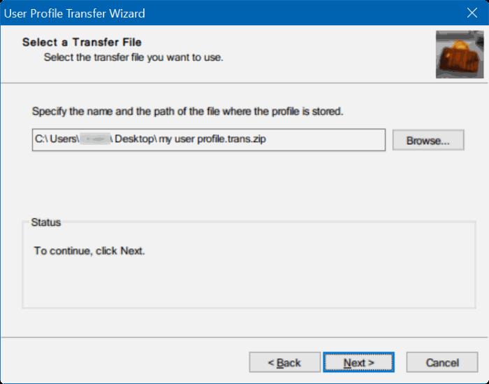 transferir perfiles de usuario en Windows 10 step8
