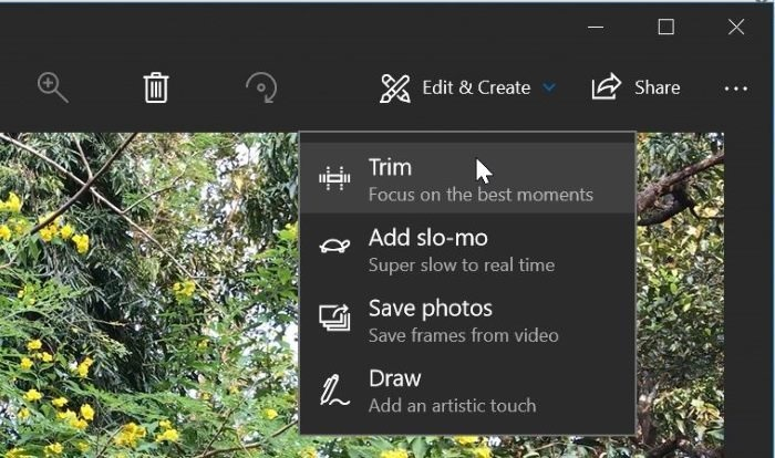 recortar archivos de vídeo en Windows 10 con Photos app pic2