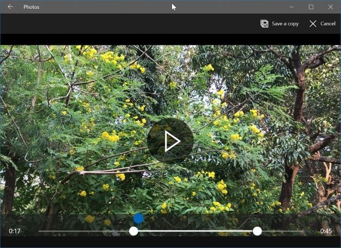 recortar archivos de vídeo en Windows 10 con Photos app pic3