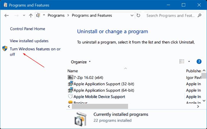 activar o desactivar características de Windows 10 pic04