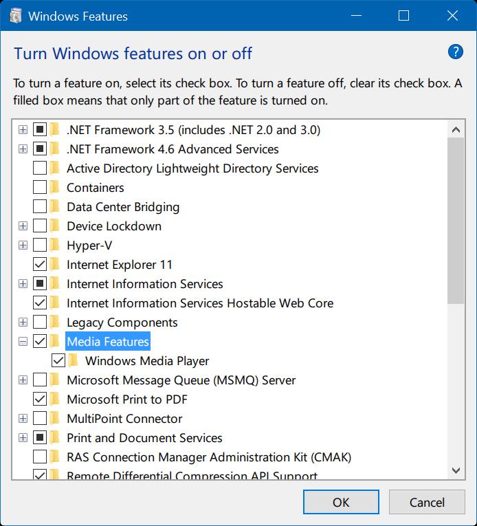 activar o desactivar características de Windows 10 pic05