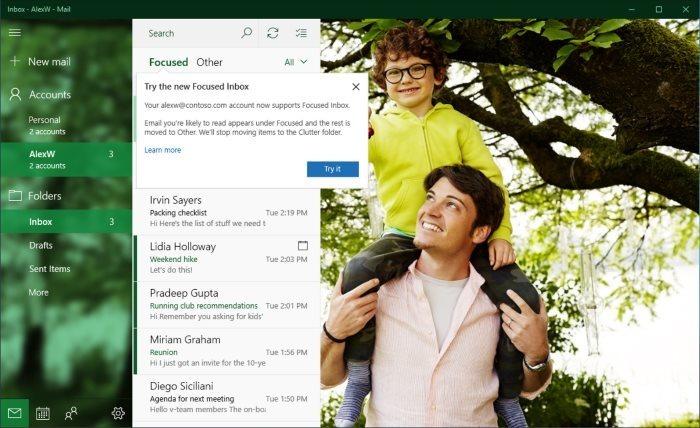 desactivar la bandeja de entrada enfocada en el correo de Windows 10