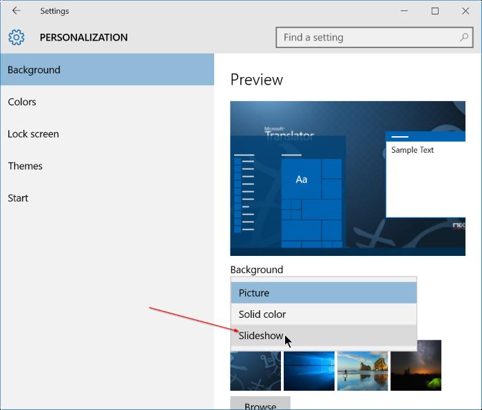 activar la presentación de diapositivas de fondo de escritorio en Windows 10 step3