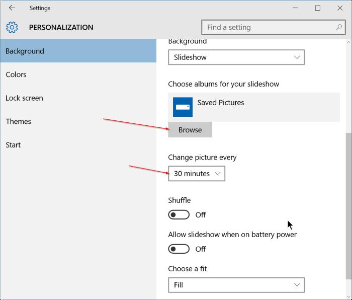 activar la presentación de diapositivas de fondo de escritorio en Windows 10 step4