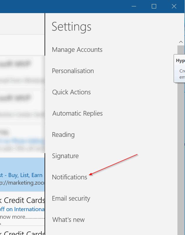activar las notificaciones de correo electrónico en el centro de actividades Windows 10 pic2