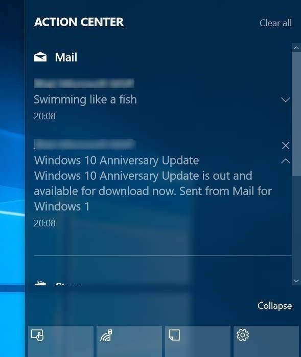 activar las notificaciones de correo electrónico en el centro de actividades Windows 10