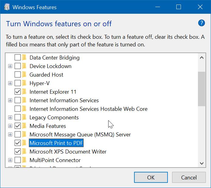 activar o desactivar la impresión de Microsoft a PDF en Windows 10 pic2