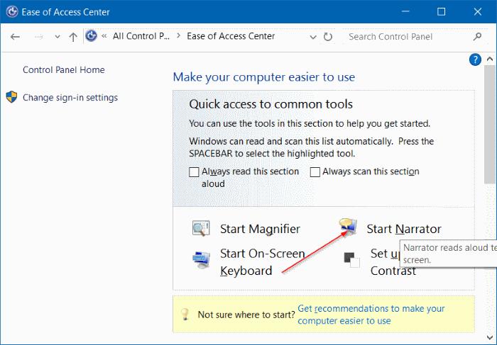 activar o desactivar el narrador en Windows 10 pic2