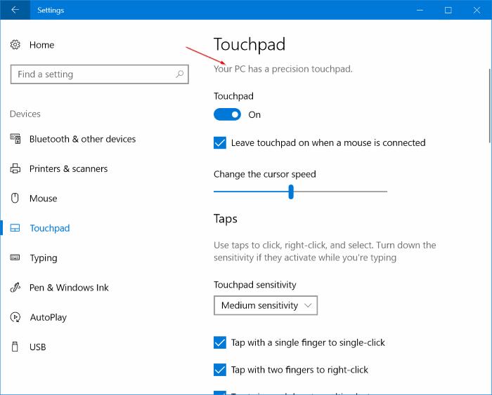 activar o desactivar los gestos del panel táctil en windows 10