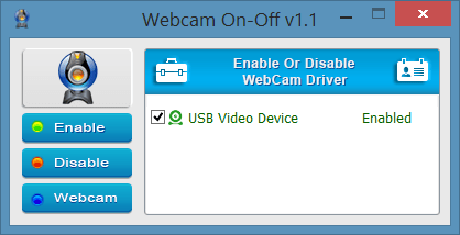 turn webcam on or off