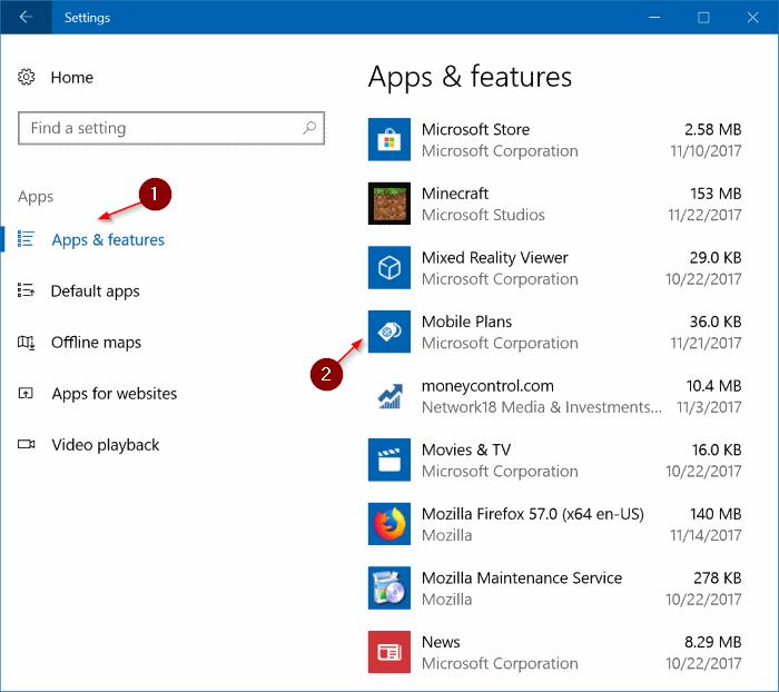 desinstalar aplicación de planes móviles de Windows 10 pic1
