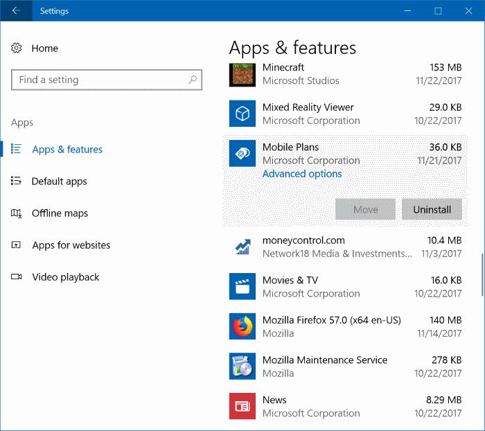 desinstalar aplicación de planes móviles de Windows 10 pic2