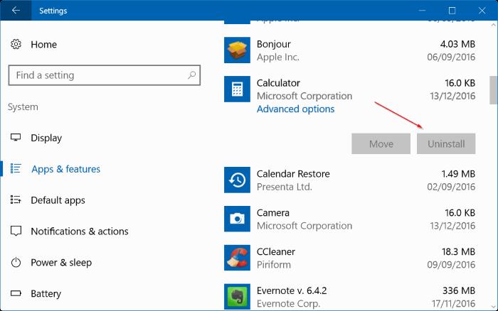 opción de desinstalación gris en la configuración de Windows 10