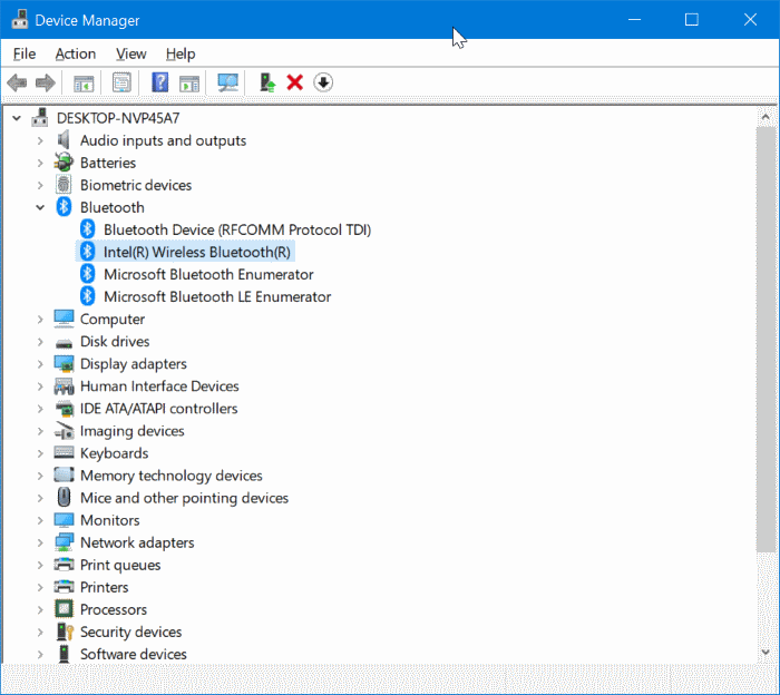 desinstalar o reinstalar el controlador Bluetooth en Windows 10 pic1