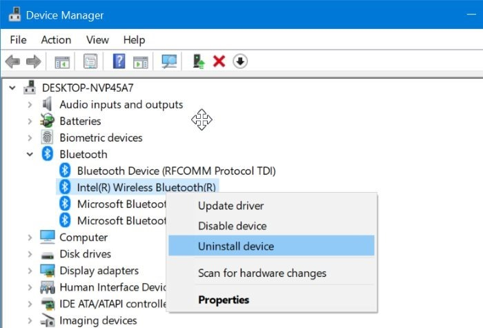 desinstalar o reinstalar el controlador Bluetooth en Windows 10 pic2
