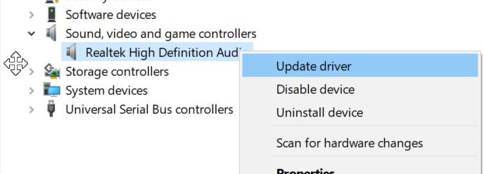 actualizar controladores de dispositivo en Windows 10