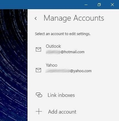 update email account password Windows 10 mail pic1