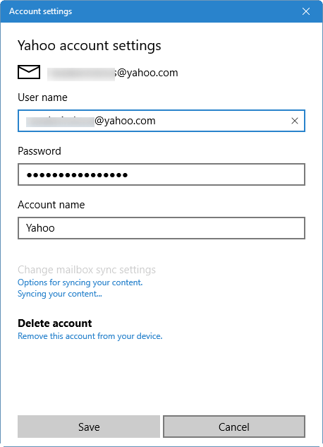 update email account password Windows 10 mail pic2
