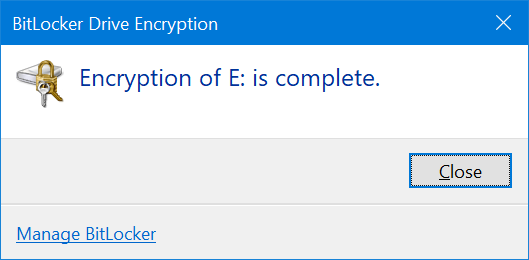 use BitLocker To password protect USB drives in Windows 10 pic10