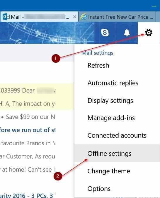 use Outlook.com offline access pic1