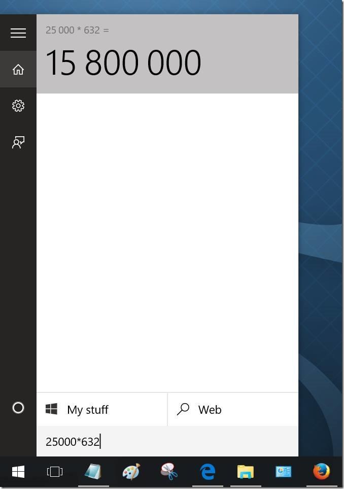 usar la búsqueda en el menú Inicio como calculadora en Windows 10 pic1