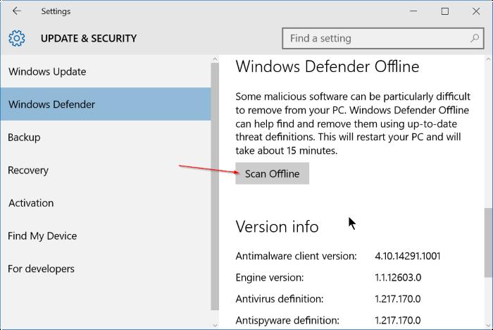 use Windows defender offline scan in Windows 10 step3