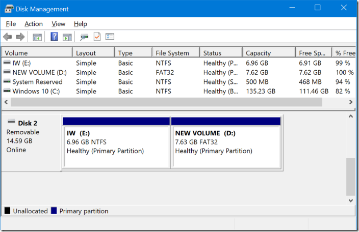 use disk management to partition USB on Windows 10
