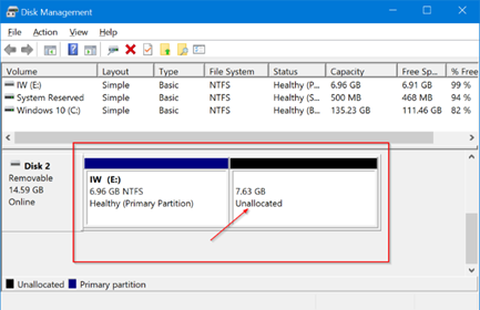 use disk management to partition USB on Windows 10 pic9