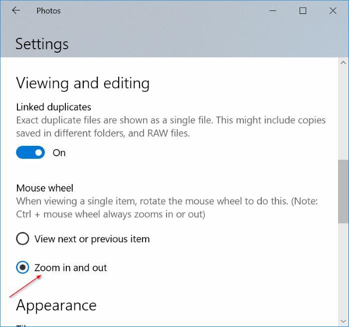 usar la rueda del ratón para acercar y alejar en Windows 10 photos app pic2